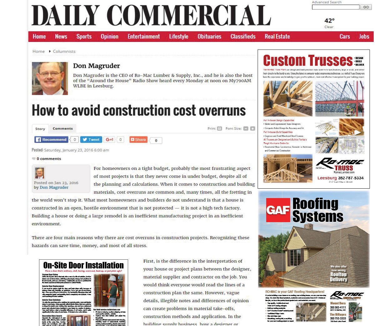 Romac Building Supply Around The House Cost Overruns