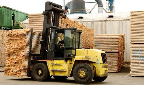Lumber On Forklift